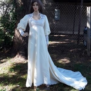 Vintage handcrafted Victorian wedding dress size 4